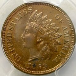 1869 Indian Head Cent/penny Very Scarce Semikey Date Pcgs Ms 63 Red Brown Beauty