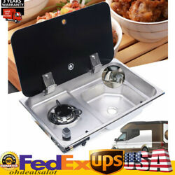 Boat Rv Burner Gas Stove Hob Sink Combo Glass Lid Faucet Knob Control Device