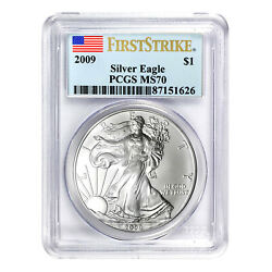 2009 1 American Silver Eagle Ms70 Pcgs - First Strike