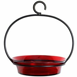 Hanging Bird Bath Bowl Or Feeder,recycled Glass,easy Fill And Clean,1 Piece ,red