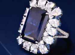 Blue Sapphie Diamond 18k White Gold Plated 925 Sterling Silver Ring Gift For Her