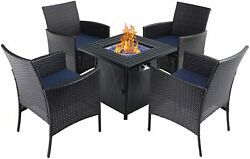 5 Piece Patio Table Chairs Set With Gas Fire Pit Rattan Chair Outdoor Furniture