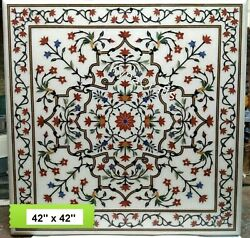 White Marble Dining Table Top Pietra Dura Art Office Table For Hotel Decor 48