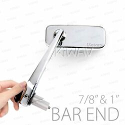 Motorcycle Bar End Mirrors Classic Chrome Mini Small Fits 7/8 1 Hollow Bar
