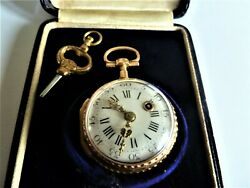 Verge. Super Rare 5 Colour 22ct Gold Fusee Pocket Watch. My Ref No 3..