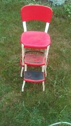 Vintage Cosco Red And Chrome Kitchen Step Stool Chair W/ Slide Out Steps
