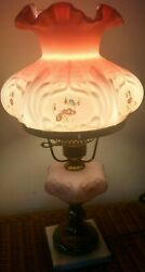 Very Rare Signed D. Cutshaw Fenton Pink Student Lamp Marble Base, 243/1000 Wow