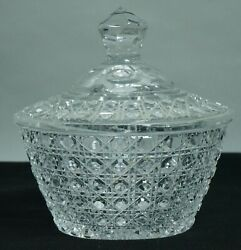 Vintage American Cut Crystal Criss Cross And Cane Pattern,lidded Candy Bowl