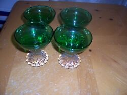 Depression Glass Mixed Lot Of Forest Green Of 10