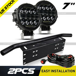 2x 7and039and039 200w Led Driving Fog Light + 23and039and039 Bull Bar Mounting Bumper License Plate