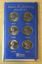 Susan B Anthony 6 Coin Set Unc 1979-80 P D S Sealed In Littleton Package