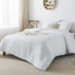 Andency White Tufted Dot Comforter Set Full Size 79x90 Inch, 3 Pieces 1 Jacqu