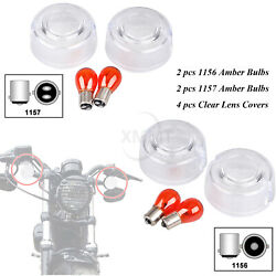 Motorcycle Turn Signal Lens Andamber Bulbs For Harley Sportster Softail Dyna 86-01
