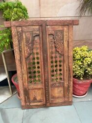 1800's Ancient Wood Hand Carved Painted Jali Cut Jharokha Style Window Door 39''