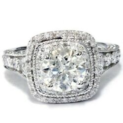 Womanand039s 4.20ct Round Cut Moissanite 14k White Gold Halo Engagement Ceremony Ring