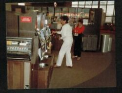 Vintage Photograph People Playing the Slot Machines in Casino