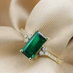 14k Yellow Gold Natural Certified Emerald Anddiamond Vintage Inspired Ring