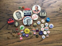 Vintage 1960s Collection Memorabilia Political Us Buttons, Pins Lot Of 43