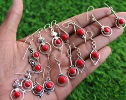 Wholesale Lot Sale Red Coral Stone Boho Dangle 925 Sterling Silver Earrings