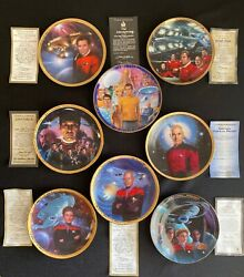 Lot Of 8 Vintage Star Trek Collector Plates - Numbered Limited Edition With Coa