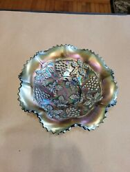 Green Northwood Carnival Glass Grape And Cable Pattern Bowl
