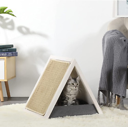 Portable Collapsible Cat Houses for Indoor Cats with One Size Scratcher Pad and