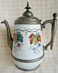 Rare Antique Graniteware Enamel And Pewter Coffee Pot Tea Kettle Manning And Bowman
