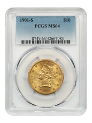 1901-s 10 Pcgs Ms64 - Liberty Eagle - Gold Coin