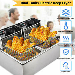 Electric Deep Fryer Stainless Steel Restaurant Home 3600w 16l Countertop