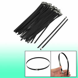 100 Pcs 4.6x300mm Stainless Pvc Covered Self Locking Cable Pipe Ties Hoops