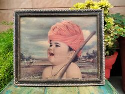 Beautiful Vintage Indian Boy Portrait Picture Painting Print Framed Wall Hanging