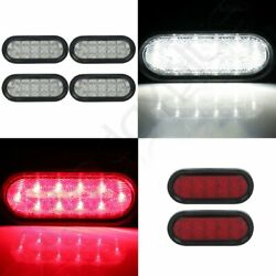 4x 6 21 Led White+ 2x Red Universal Side Marker Truck Trailer Tail Signal Light