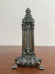 Antique Georgian Gothic Revival Style Brass Desk Thermometer C1829 By C A Canti