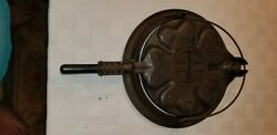 Griswold Cast Iron Low Base Heart And Stars Waffle Maker