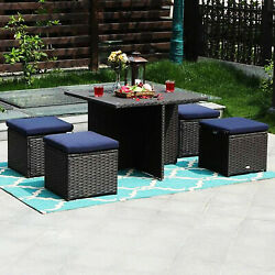 5pcs Rattan Patio Furniture Set Wicker Outdoor Sectional Sofa With Dining Table