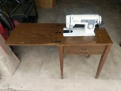 Vintage White Sewing Machine Model 370 Zigzag With Desk Vtg Table