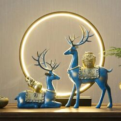 Lucky Deer Sculptures Resin Art Crafts Vintage Office Home Decor Gifts Christmas