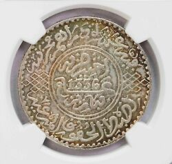 Ngc-ms66 Ah1336 Pa 1918 Morocco Rial Silver Nice Toning Only One Finer Bu