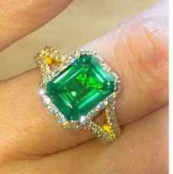 14k Yellow Gold Emerald Vintage Style Engagement Diamond Shank Ring For Her