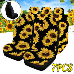 5-seats Car Seat Covers Universal Polyester Safety Protectors Sunflower Pattern