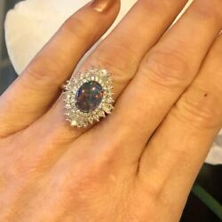 14k White Gold Natural Australian Black Opal And Pave Diamond Ring Gift For Her