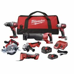 Milwaukee 18volt Lithium-ion Cordless 6 Tool Kit Two Batteries Charger And Bag