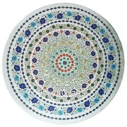 Round Marble Dining Table Top Semi Precious Stone Inlaid Work Kitchen Table 42