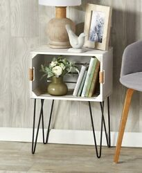 Whitewashed Wooden Crate End Side Table Country Farmhouse Decor