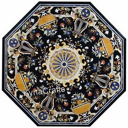 Black Marble Dining Table Top Antique Pattern Centre Table For Home Decor 48