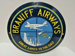 Braniff Airlines Great Lakes To The Gulf Porcelain Sign 12 Vintage Pre-owned