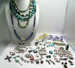 Large Lot Vintage Sterling Silver Native American Turquoise And Coral Jewelry