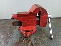 Vintage Sears 4-1/2'' Jaw Anvil 5176 Bench Pipe Vise Vice Red