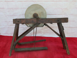 Antique Primitive Stone Blade Sharpener With Wooden Stand With Pedals
