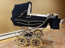 Vintage Italian Perego Baby Stroller Carriage Blue Made in Italy .